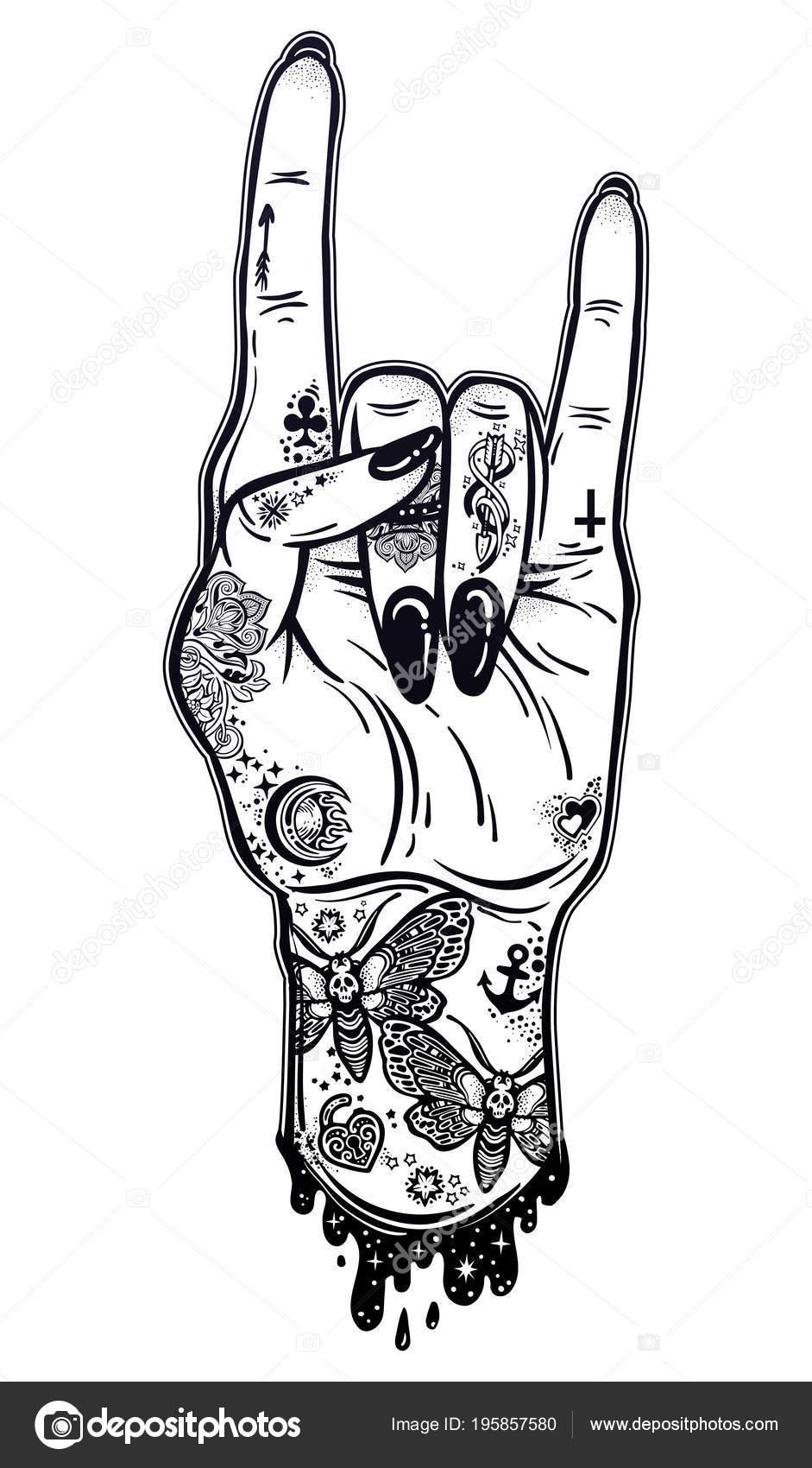 Leva Main Encré Comme Un Geste De Signe Du Rock And Roll