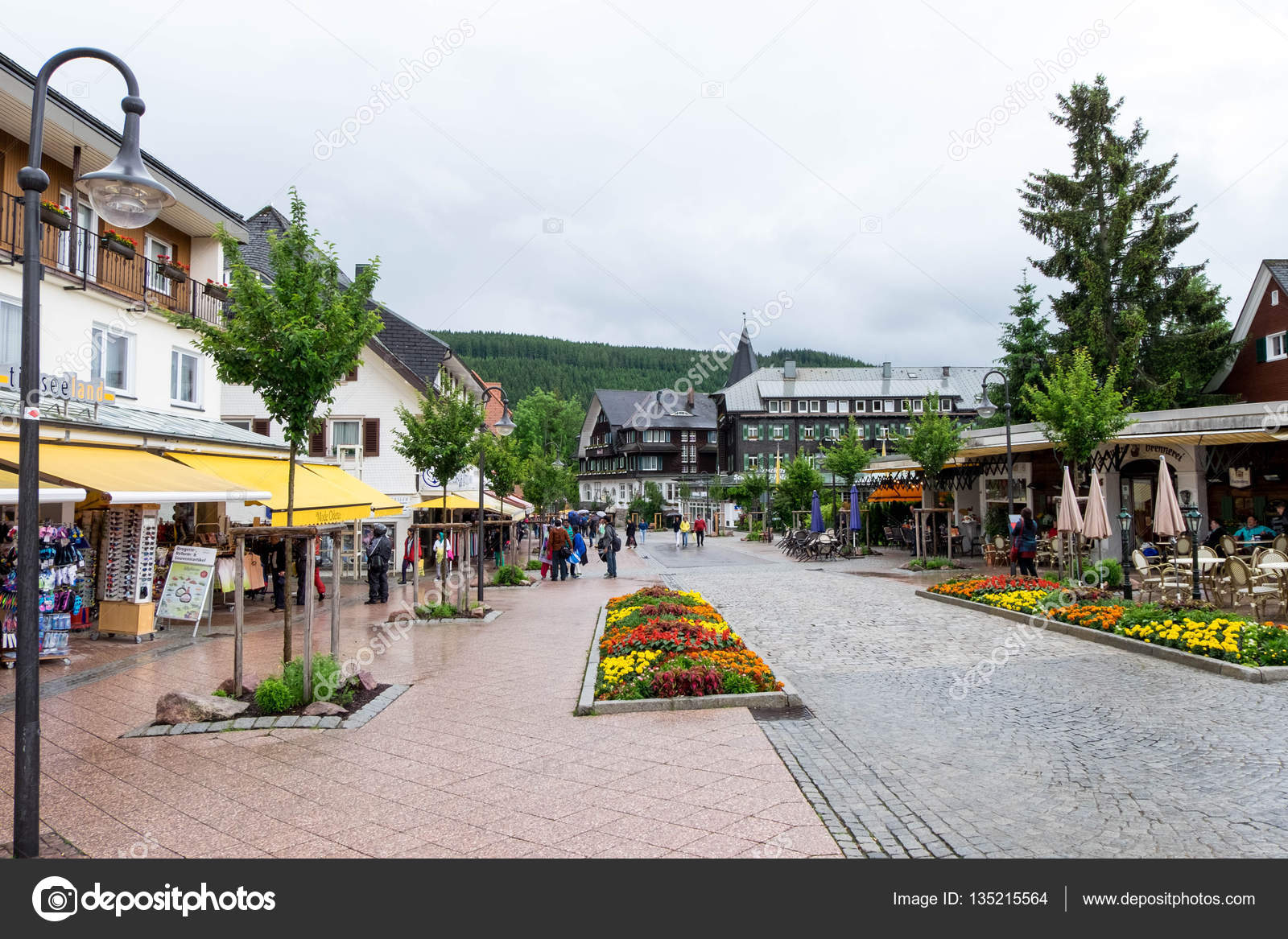 June 17 2016 Titisee Neustadt Germany Summer Raining Day In Titisee Neustadt Village Tourists Are Traveling Even Rain Falls Stock Editorial Photo C Yanisapae 135215564