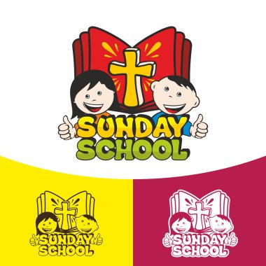 Logo Sunday school. Christian symbols. The Church of Jesus Christ.