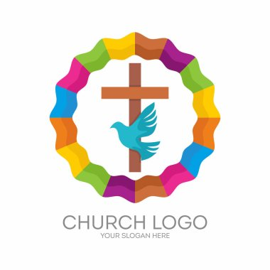 Church logo. Christian symbols. The Cross of Jesus, the Holy Spirit - Dove.