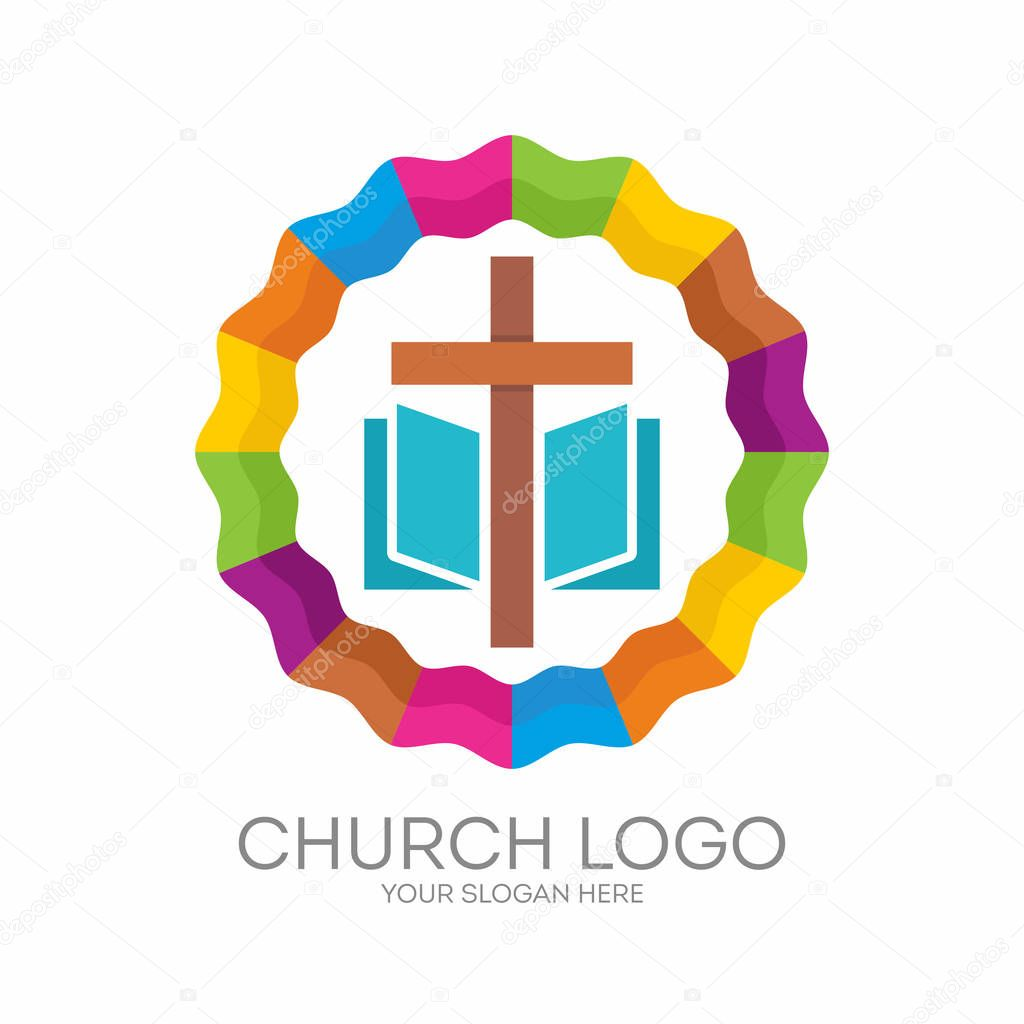 Church logo christian symbols the cross of jesus the bible christian symbols the cross of jesus the bible gods holy word vector by biblebox buycottarizona Choice Image