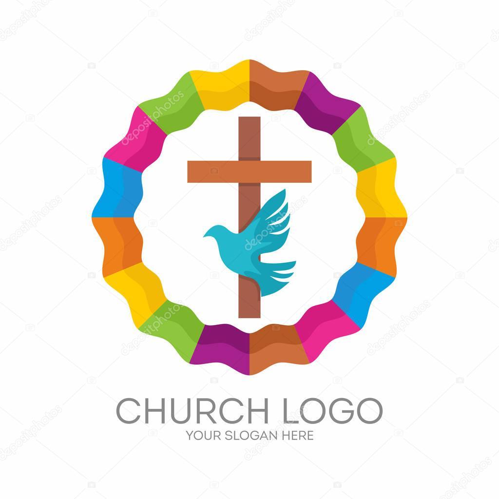 Super Logo di Chiesa. Simboli cristiani. La Croce di Gesù, lo Spirito  LJ81