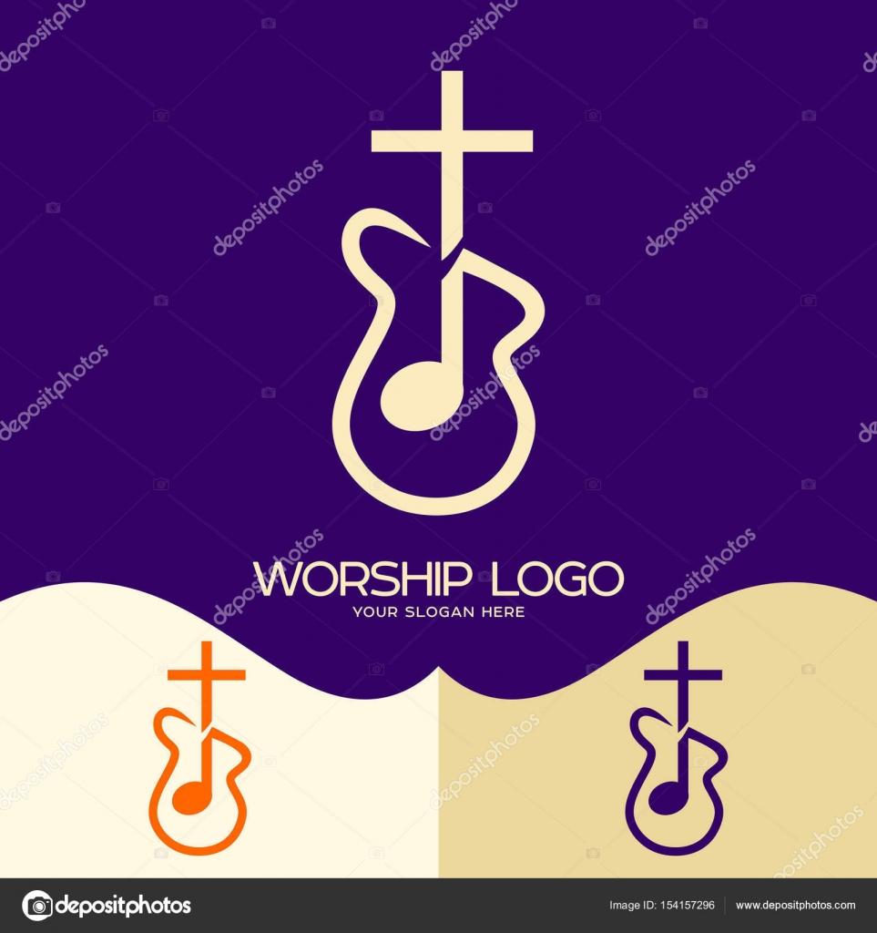 Worship Logo Cristian Symbols Cross Of Jesus Musical Note And