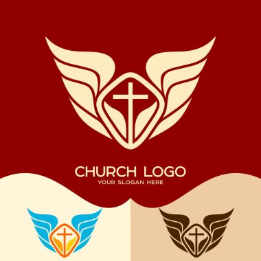 Church logo. Cristian symbols. The cross of Jesus and the wings of an angel