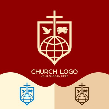 Church logo. Cristian symbols. Cross of Jesus, the Bible, the dove and the globe