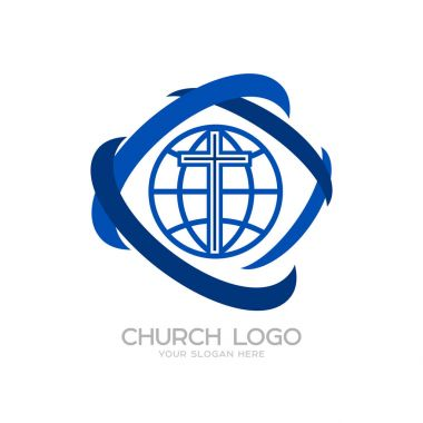 Church logo. Cristian symbols. The Cross of Jesus and the Globe