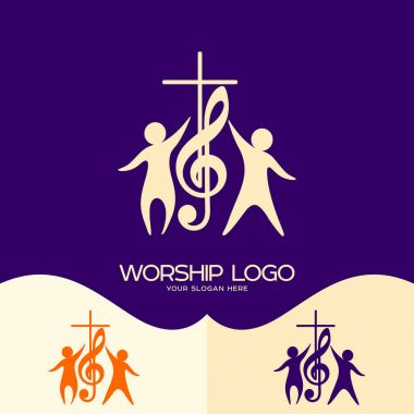 Worship logo. Cristian symbols. Cross, musical note and worshiping Jesus