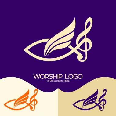 Worship logo. Cristian symbols. Jesus fish, musical note - treble clef and wing