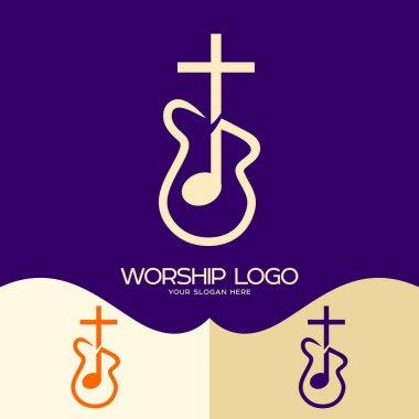 Worship logo. Cristian symbols. Cross of Jesus, musical note and guitar