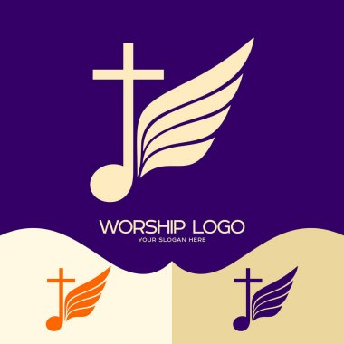 Worship logo. Cristian symbols. Cross of Jesus, musical note and wing