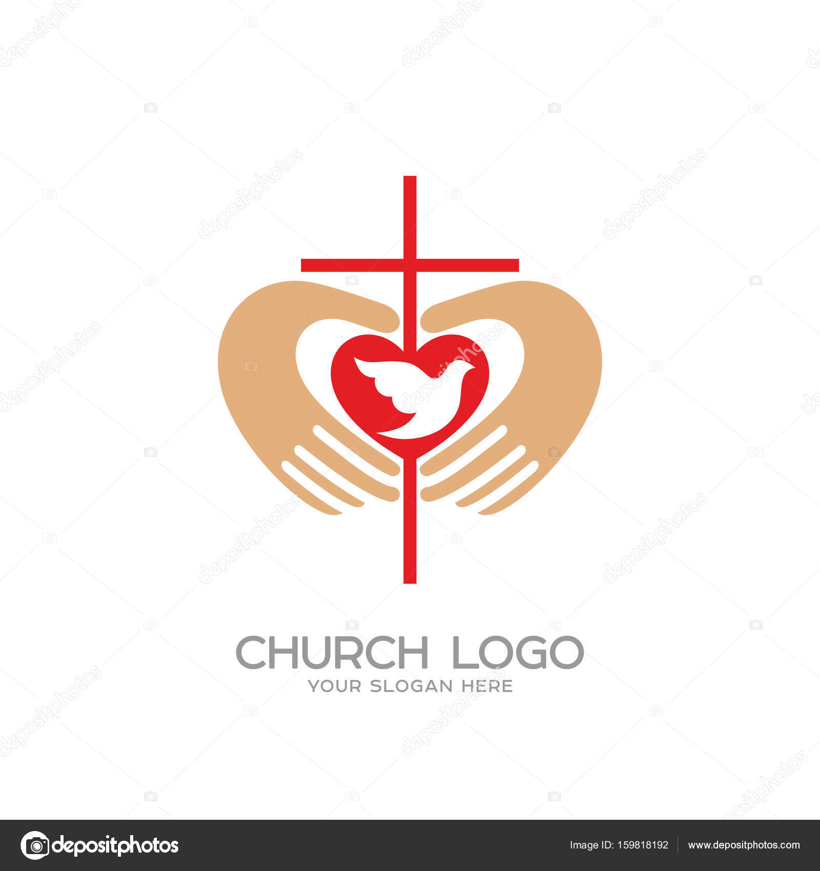 Church logo christian symbols the cross and the hands of christ church logo christian symbols the cross and the hands of christ the heart and the dove vector by biblebox thecheapjerseys Images