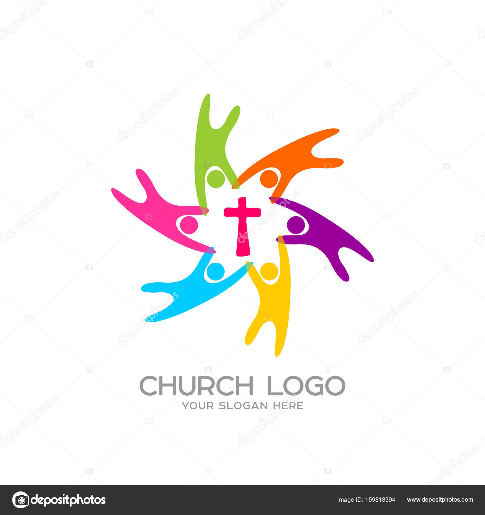 Church logo christian symbols people united by the savior jesus christian symbols people united by the savior jesus stock vector biocorpaavc Image collections