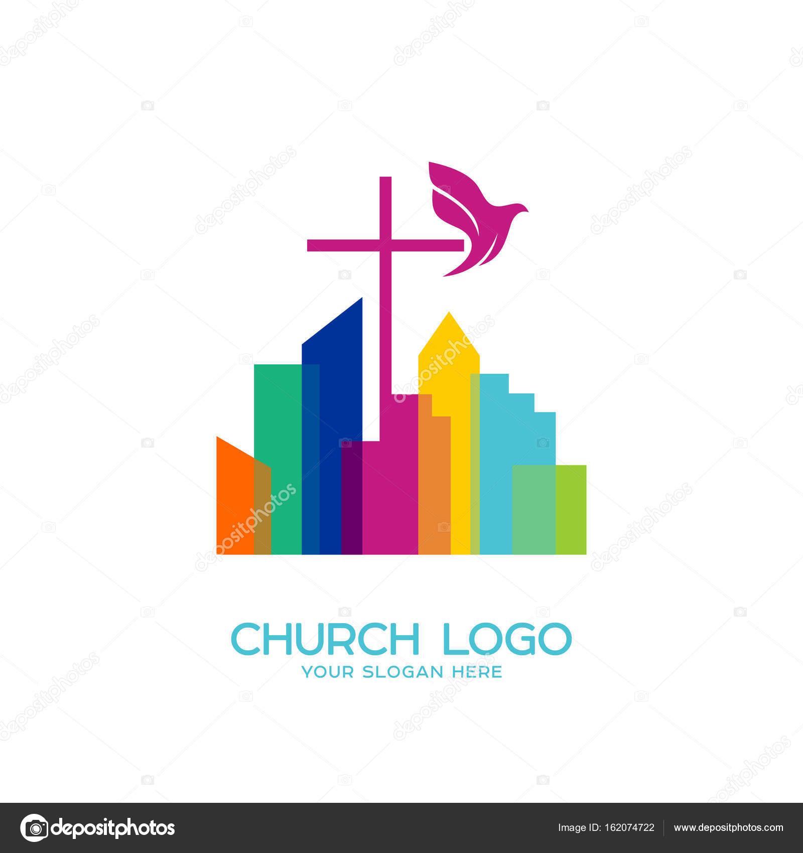 Church logo christian symbols the cross of jesus and the dove over church logo christian symbols the cross of jesus and the dove over the city thecheapjerseys Gallery