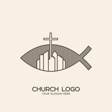 Church logo. Christian symbols. Cross and city on a background of fish symbols