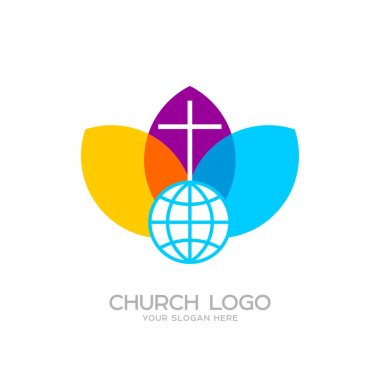 Church logo. Christian symbols. The Cross of Jesus and the Globe