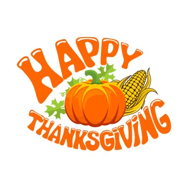 Typography of Thanksgiving. Beautifully decorated holiday text with autumn elements.