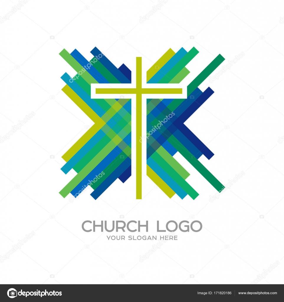 Church Logo Christian Symbols Cross Of Jesus Christ And Mosaic