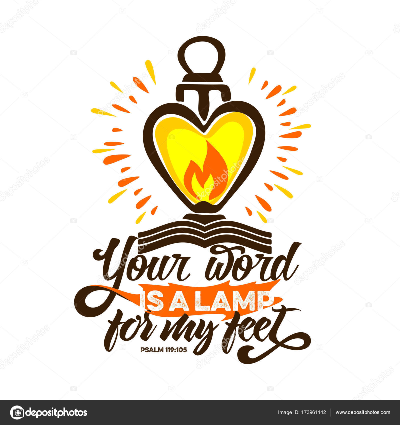 Bible Lettering. Christian Art. Your Word Is A Lamp For My Feet. U2014