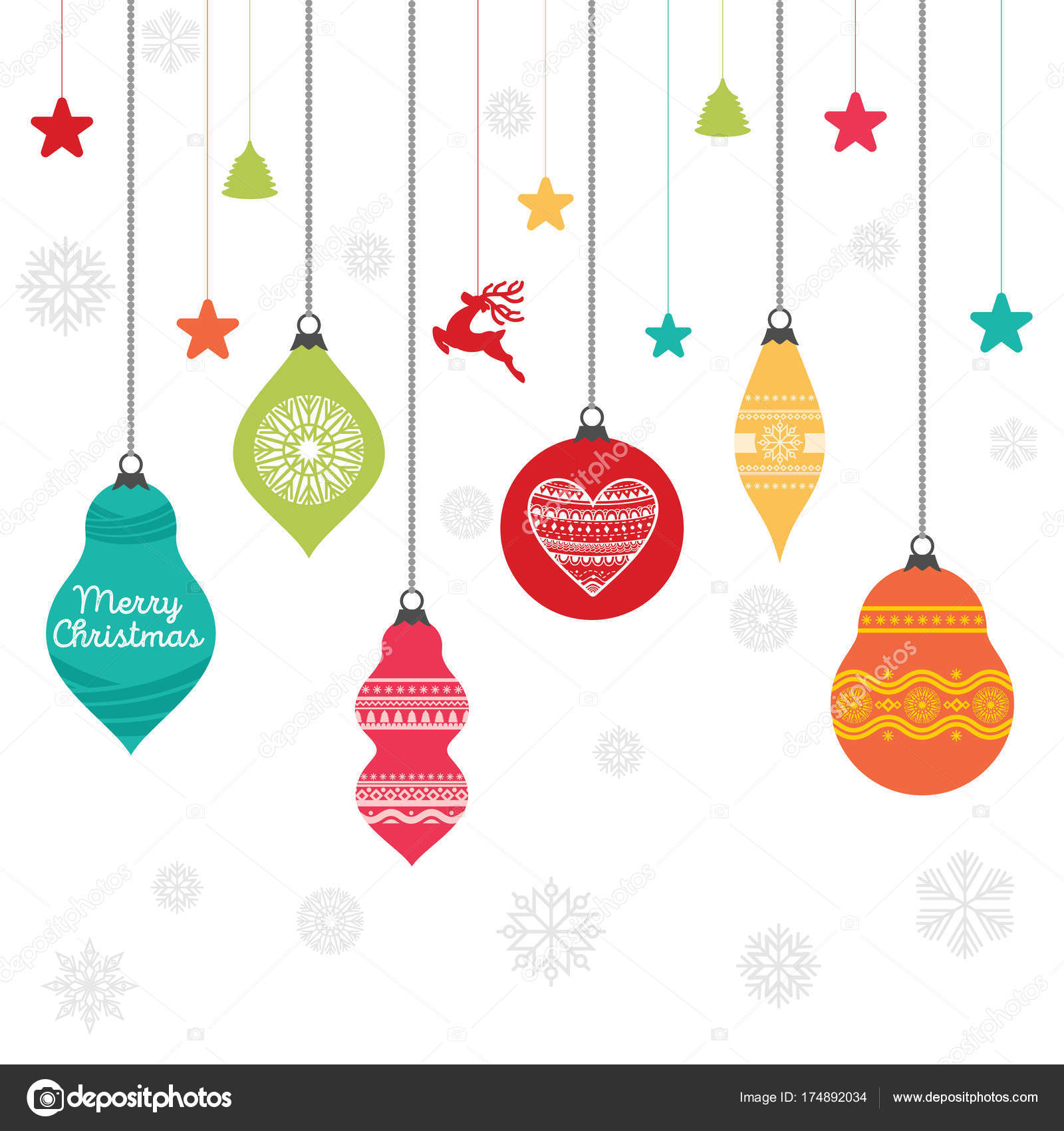 Set Palline Natale Con Gli Ornamenti Elementi Decorativi Disegno