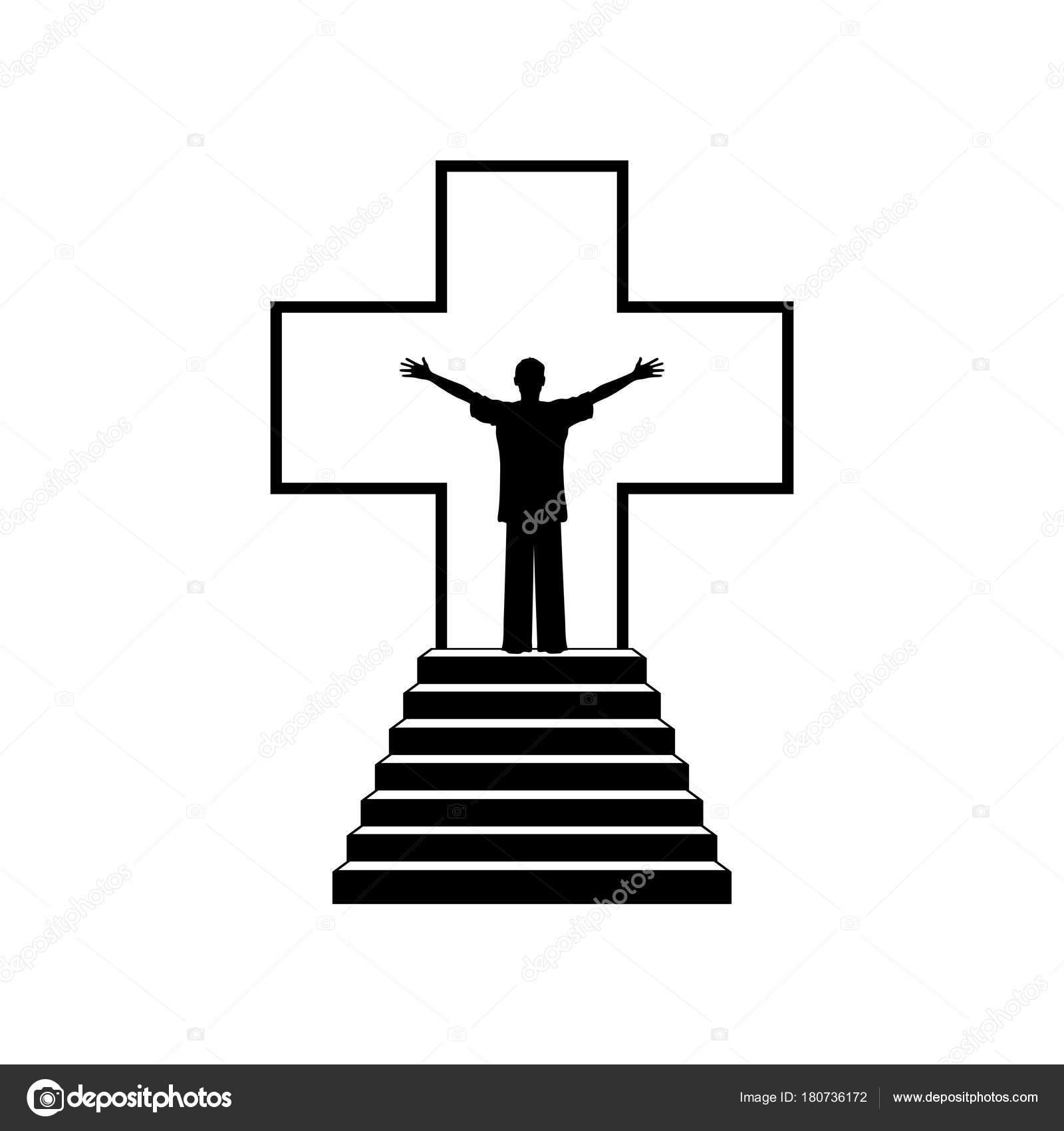 キリスト教イラスト イエス キリストの十字架の背景の人 ストック