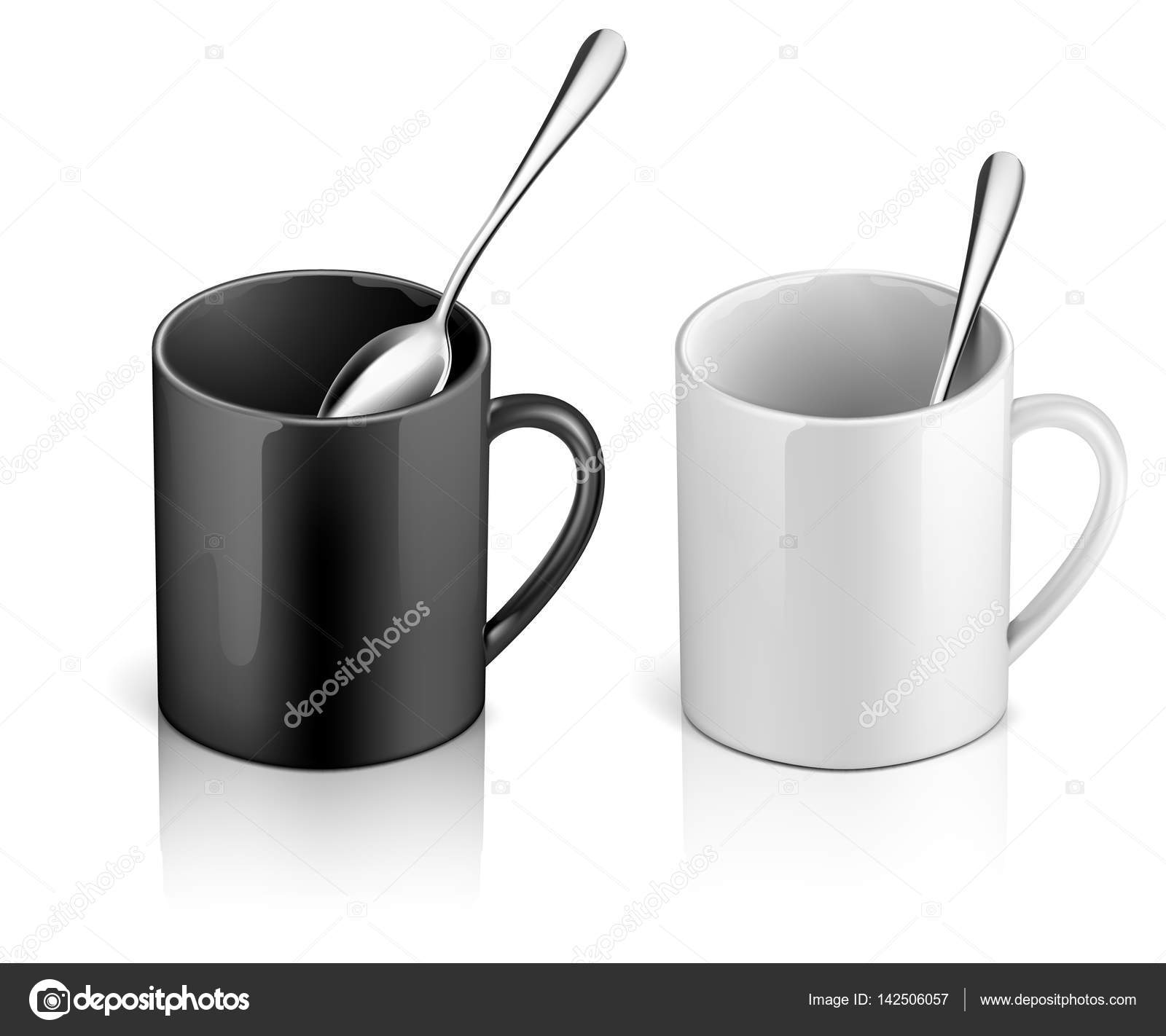 Vector illustration template set of black and white coffee or big ...