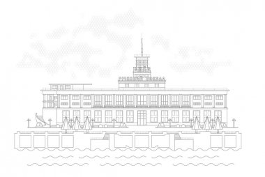 Vector illustration image of River Port. Front facade view.