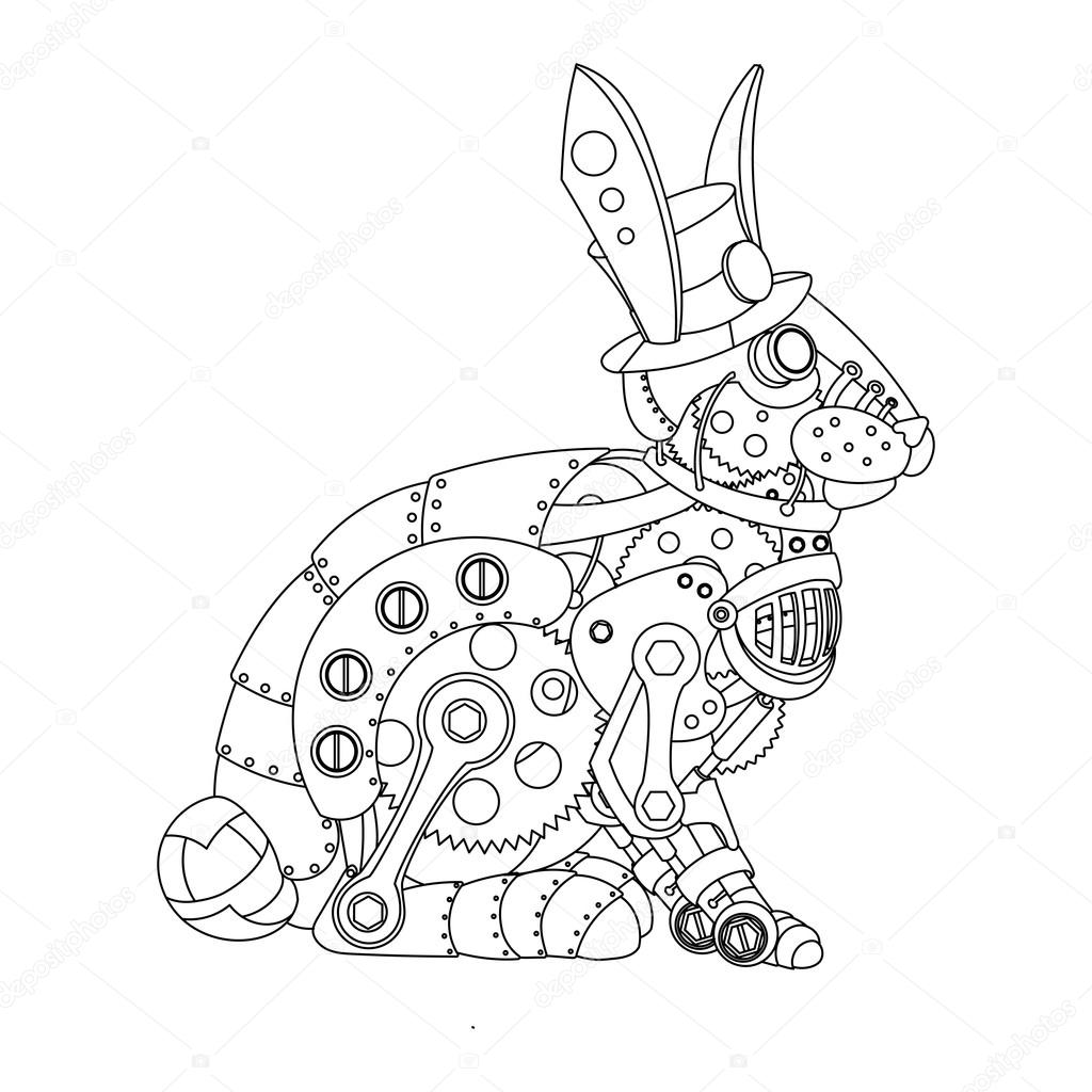 Conejo de estilo Steampunk para colorear vector libro — Vector de ...