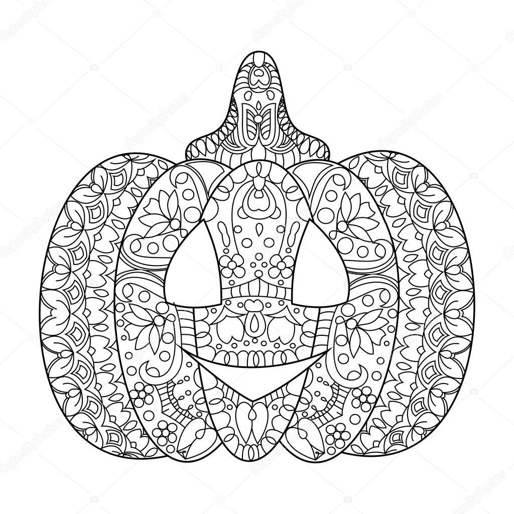 Kleurplaten Mandala Halloween.Halloween Pompoen Kleuren Boek Vector Stockvector