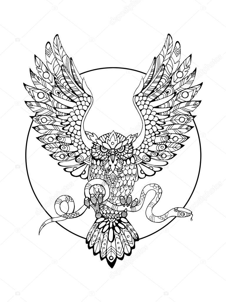 Kleurplaat Owl Sowa Z Kolorowanka Dla Dorosłych Wektor Wąż Grafika