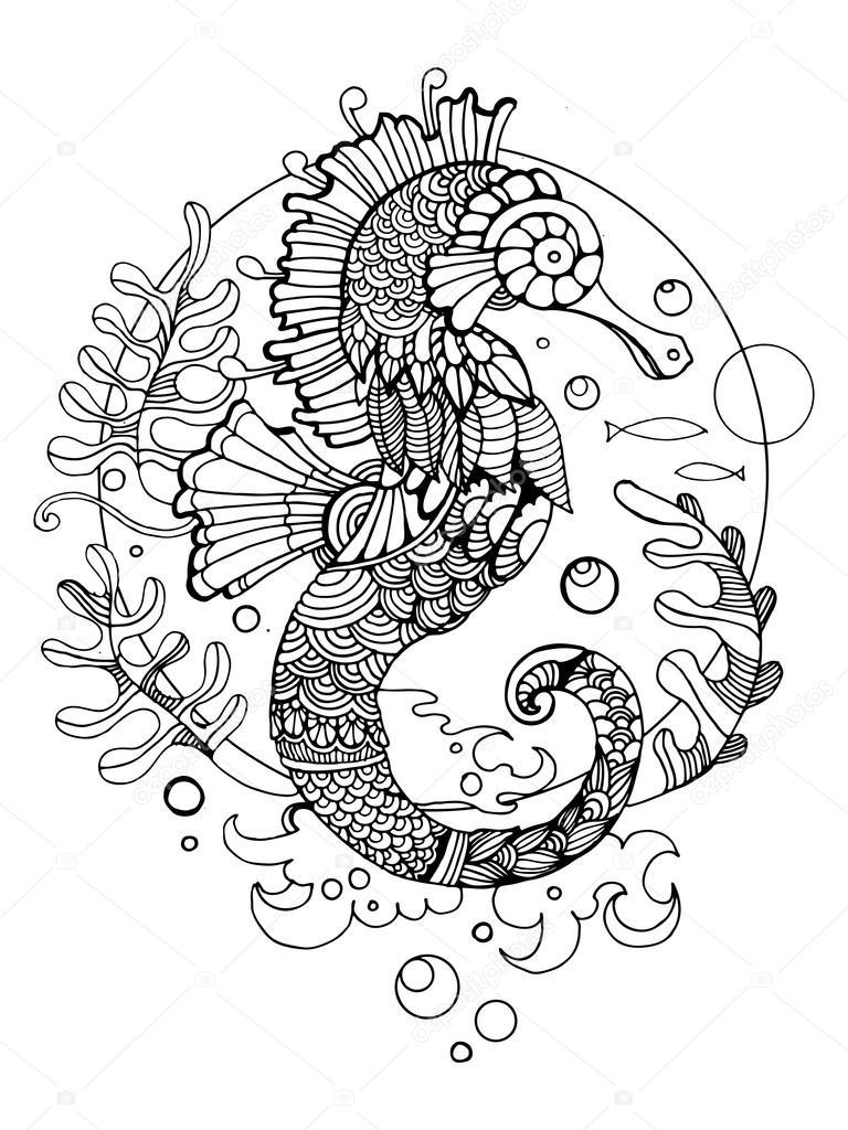 Deniz Atı Boyama Kitabı Yetişkin Vektör Için Stok Vektör