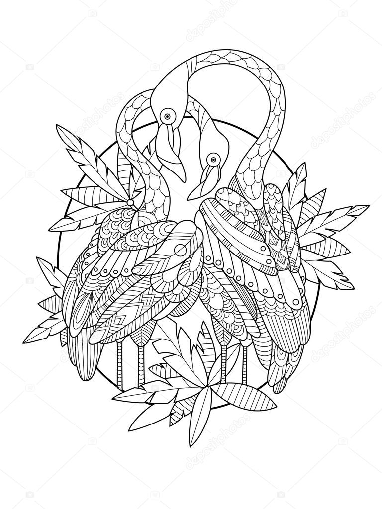 Libro para colorear de aves flamencos de vectores adultos — Vector ...