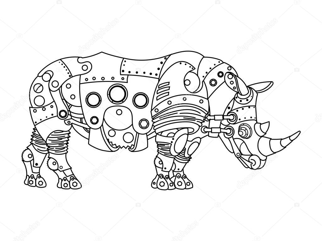 ste unk style rhinoceros coloring book vector stock vector  ste unk style rhinoceros coloring book vector stock vector