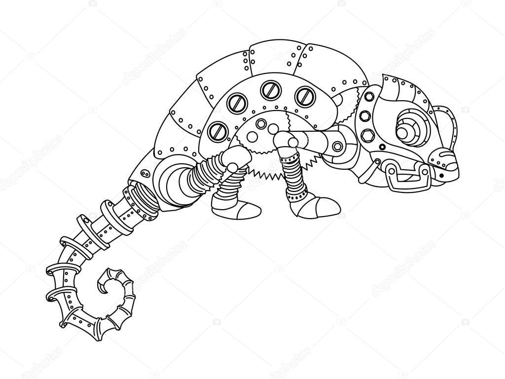 Camaleón de estilo Steampunk para colorear vector libro — Archivo ...