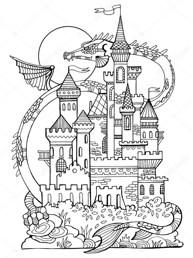 Castle and dragon coloring book vector — Stock Vector ...