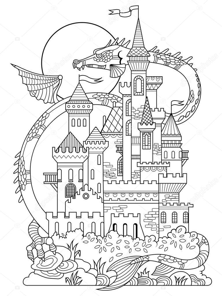 Ch teau et dragon coloriage livre vecteur image - Dessin feerique ...