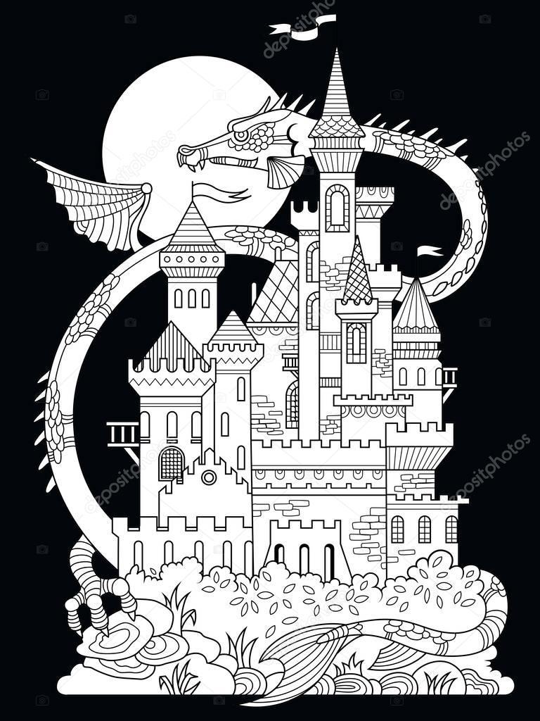 Castillo y dragón para colorear libro de vector — Archivo Imágenes ...