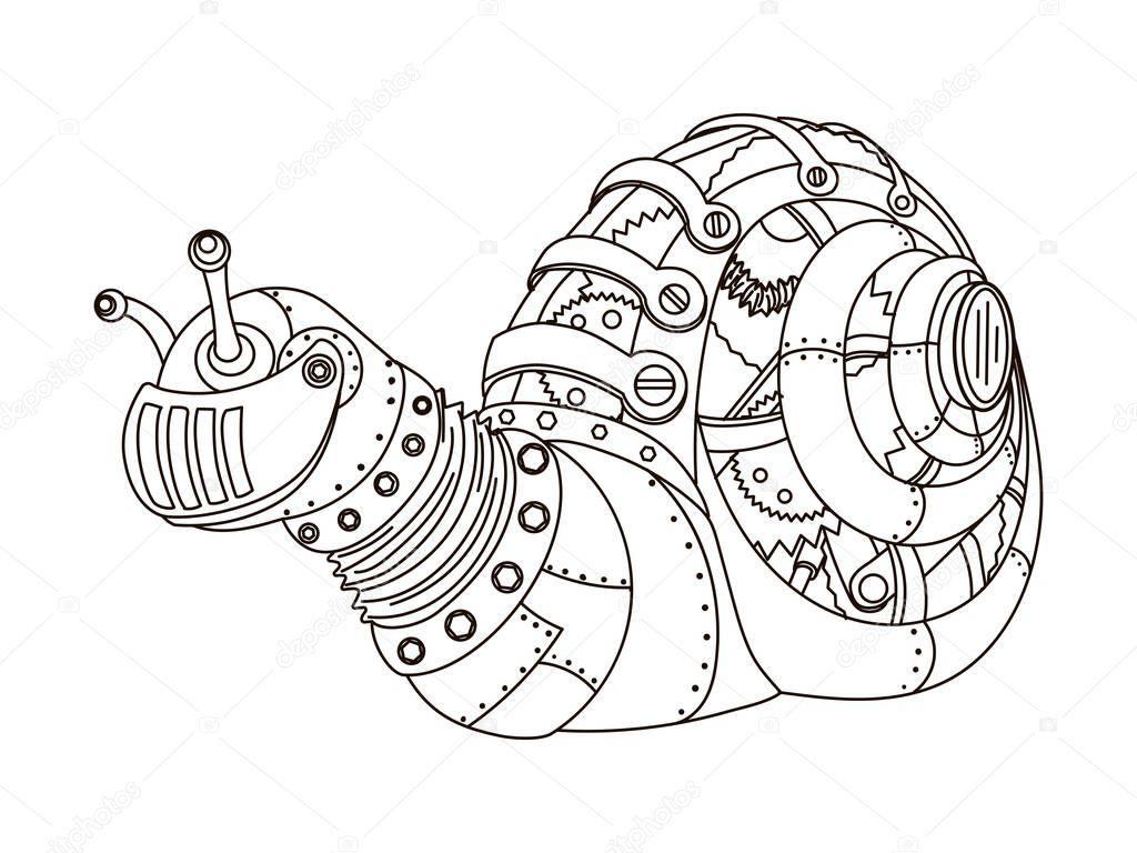 caracol de estilo steampunk vetor de livro de colorir vetor de