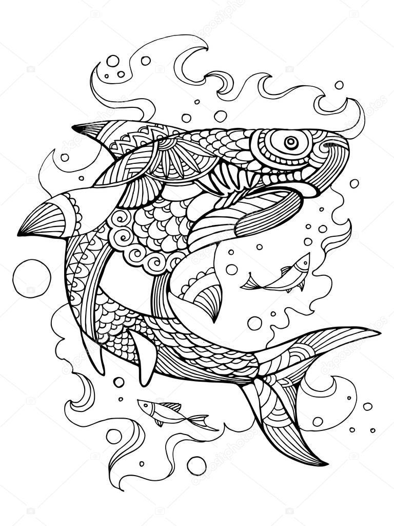 Imágenes Mandalas De Tiburones Tiburón Para Colorear