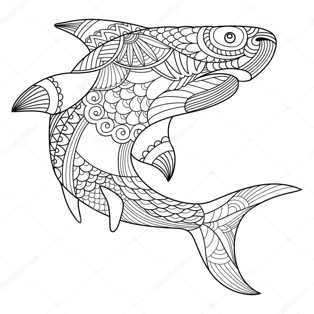 Shark coloring book for adults vector — Stock Vector ...