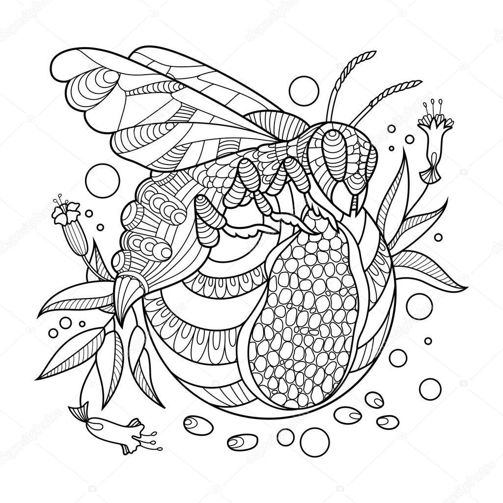 Kleurplaten Voor Volwassenen Tattoo.Wasp Boek Kleurplaten Voor Volwassenen Vector Illustratie