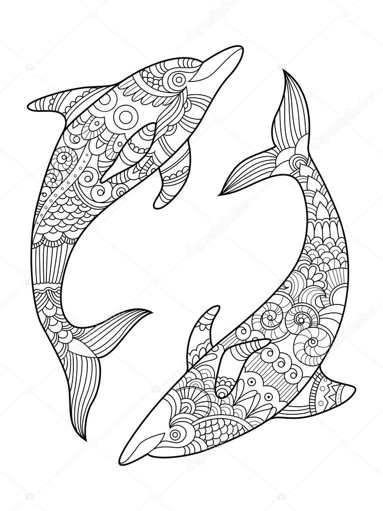 Dolphin Coloring Book For Adults Vector Stock Vector