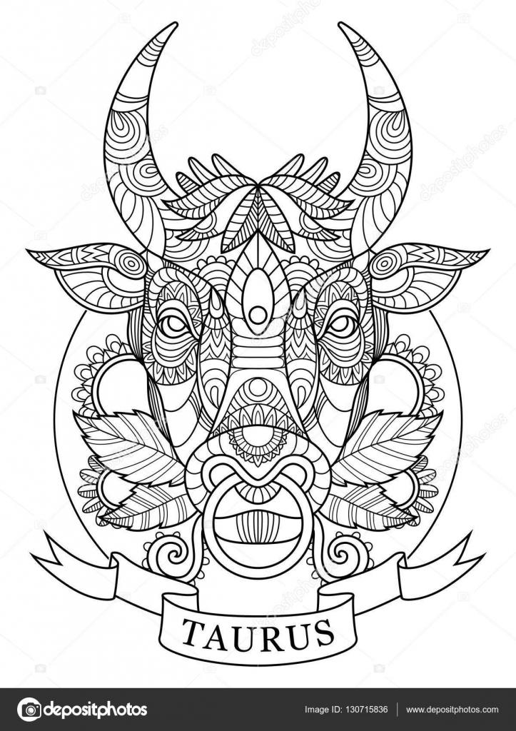 Signo del zodiaco Tauro para colorear libro de vectores adultos ...