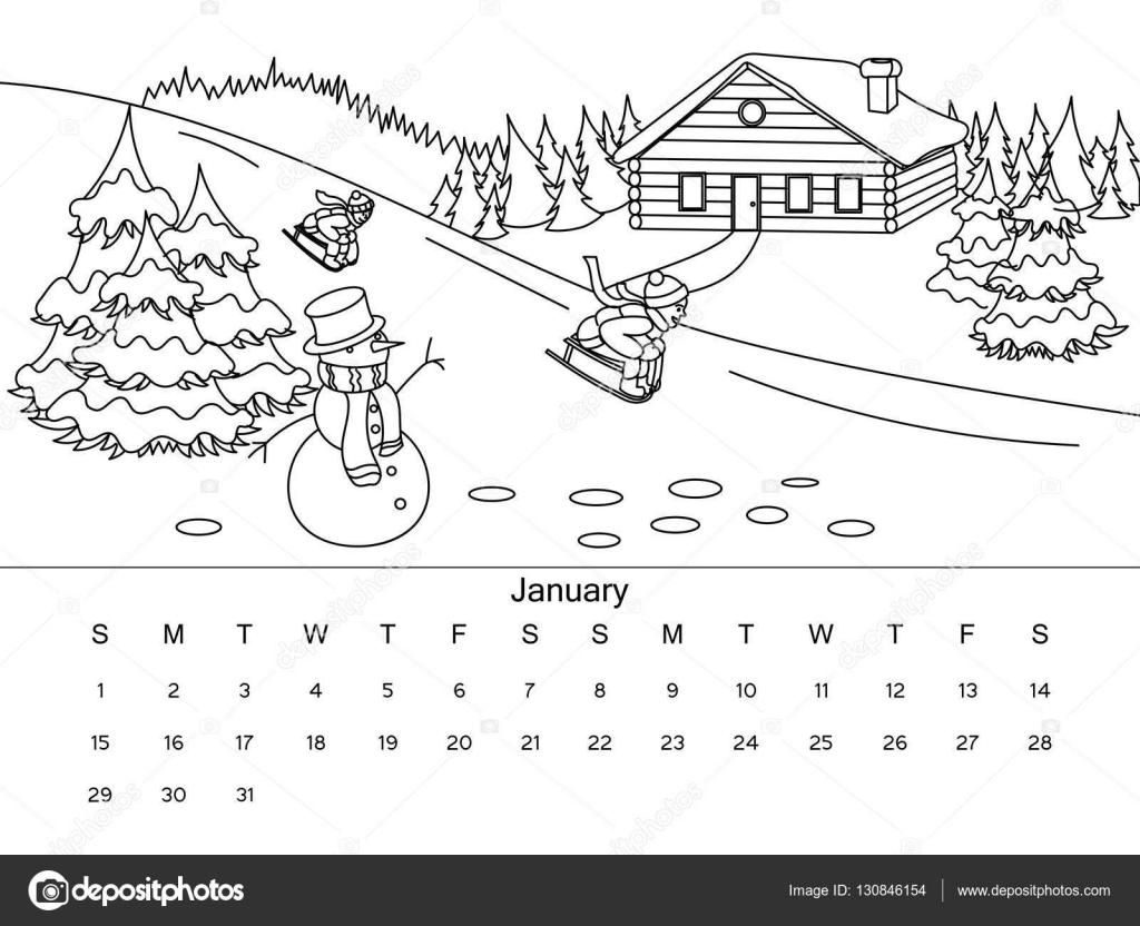 kleurplaat kalender 2016