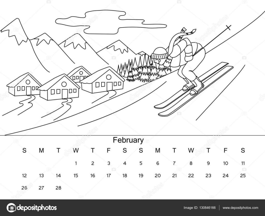 Calendario Para Colorear Ilustración Vectorial Del Libro Archivo