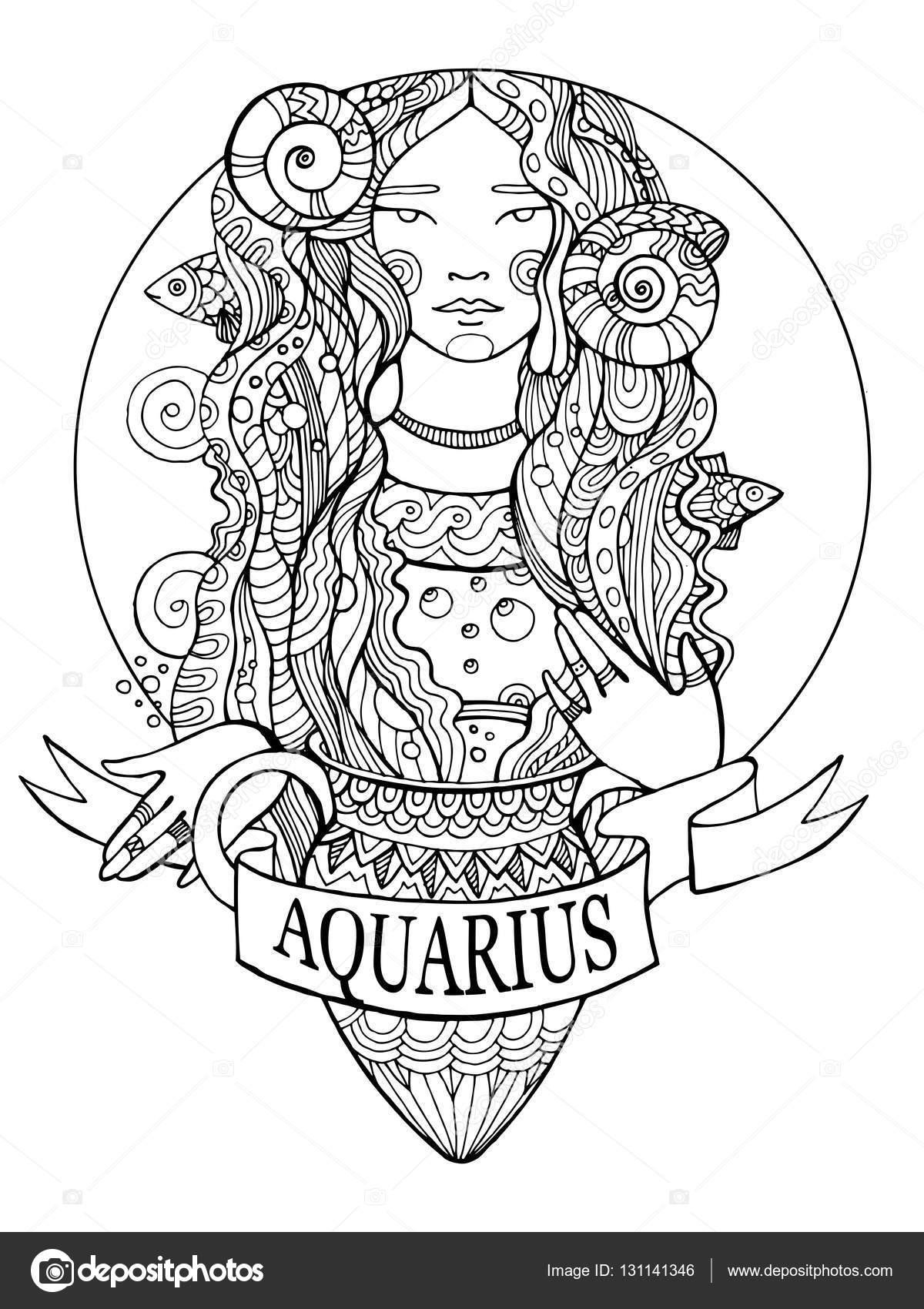 Signo del zodiaco acuario para colorear vector libro — Archivo ...