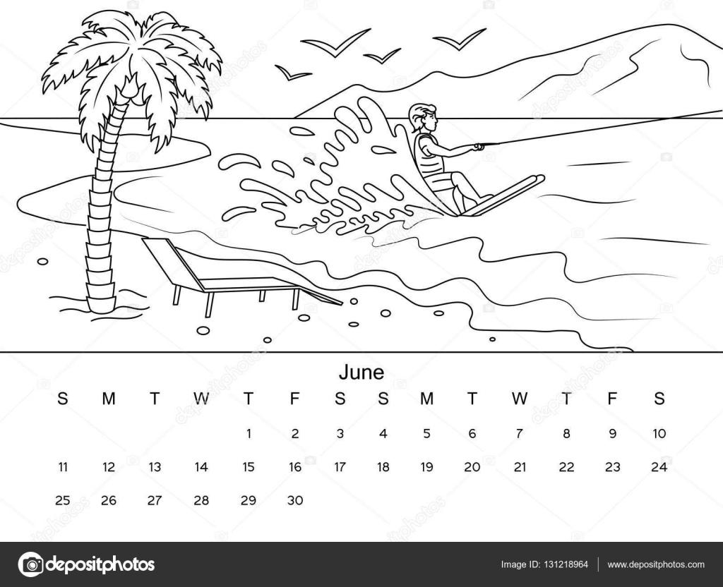 Calendario Para Colorear Ilustración Vectorial Del Libro