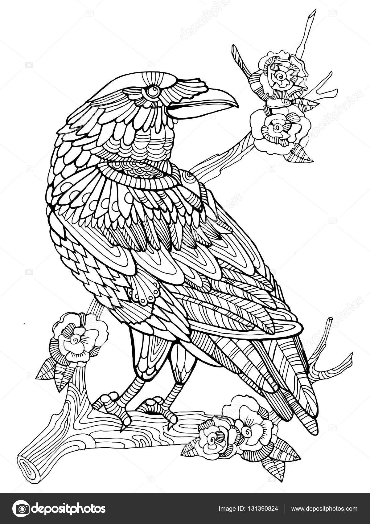 Crow Bird Coloring Book For Adults Vector ⬇ Vector Image By ©  AlexanderPokusay Vector Stock 131390824
