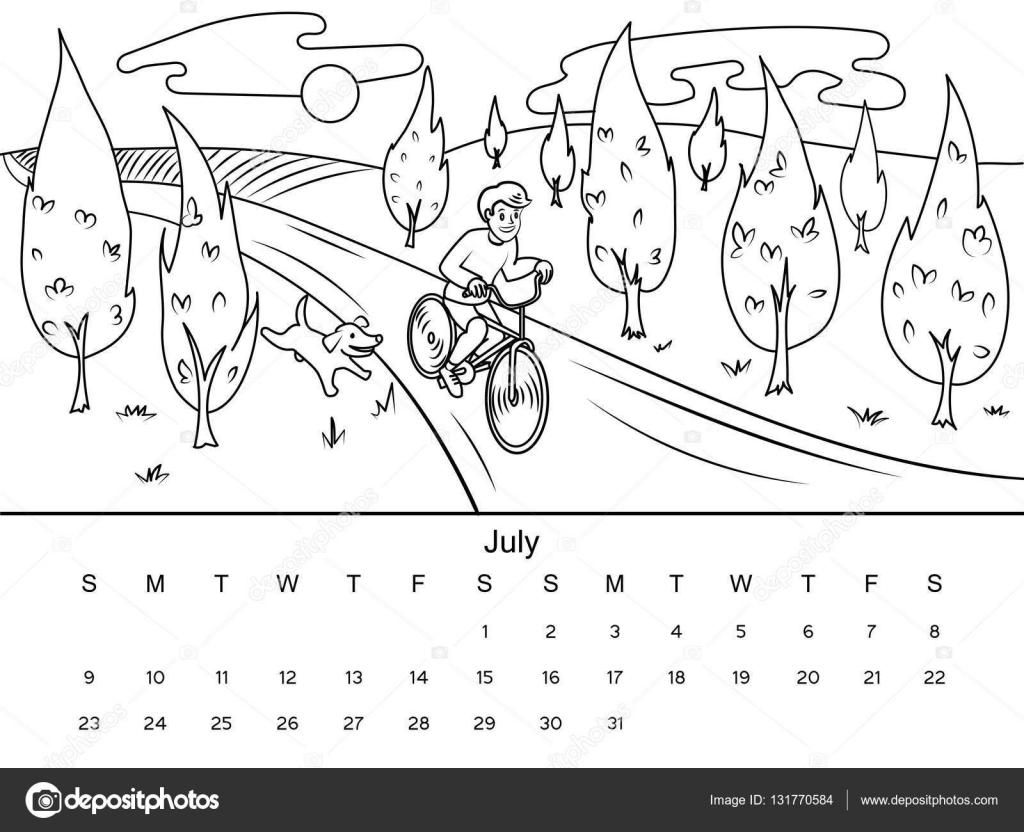 Calendario para colorear ilustración vectorial del libro — Vector de ...