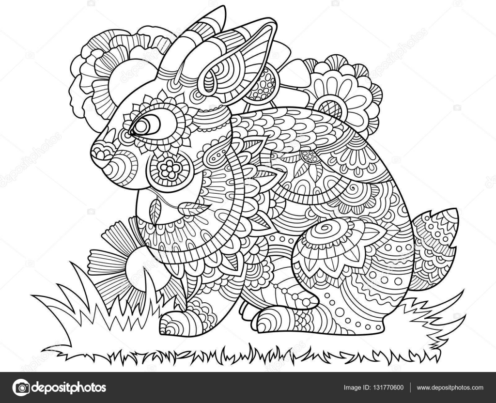 Rabbit bunny coloring book for adults vector — Stock Vector ...