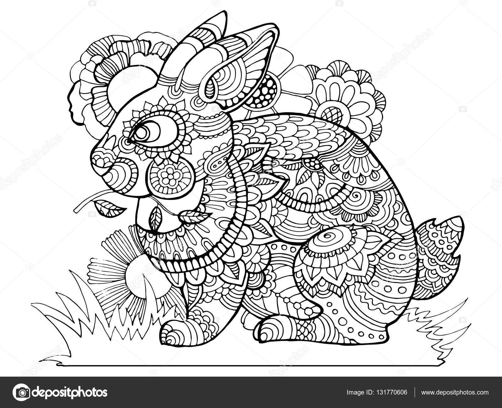 Bunny lapin cahier de coloriage pour adultes vector illustration Anti stress coloriage pour adulte Pochoir de tatouage Zentangle style